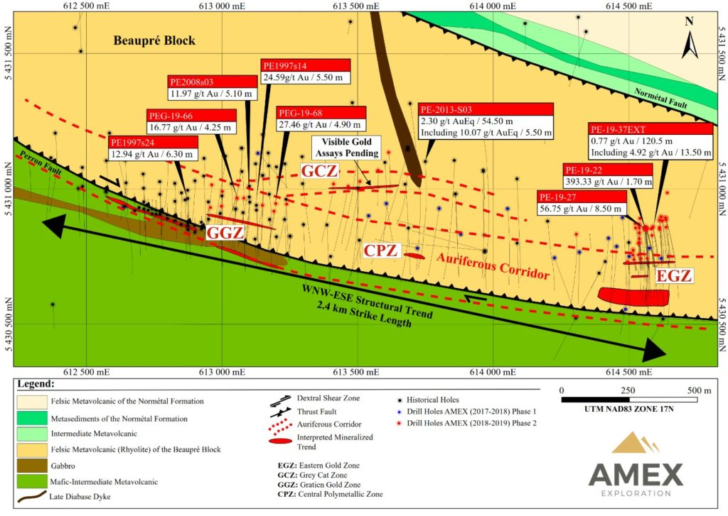 Figure 1. Location of mineralized zones Perron Project 1024x727